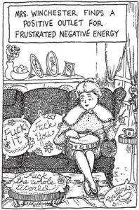 """Black and white line drawing of old lady stitching """"fuck off"""" on a cushion"""